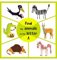 Funny learning maze game find all 3 cute animals vector image