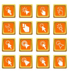 mouse pointer icons set orange vector image