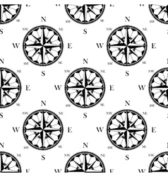 Retro ornate compass roses seamless pattern vector image vector image