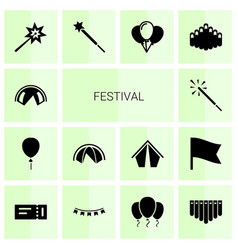 14 festival icons vector image