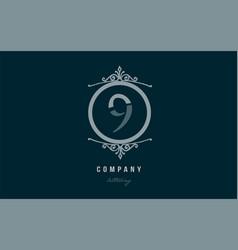 9 nine blue decorative monogram number numeral vector image