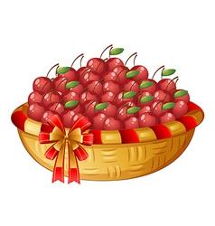 A basket of cherries vector image vector image