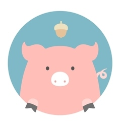 Animal set portrait in flat graphics - pig vector