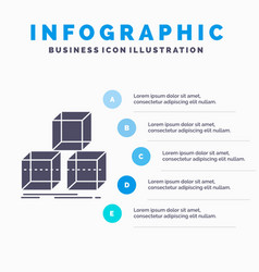 Arrange design stack 3d box infographics template vector