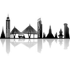 Bangkok Thailand Kingdom landmark silhouette vector image