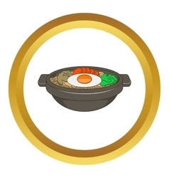 Bibimbap korean dish icon vector