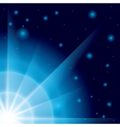Blue background with flash in the corner vector