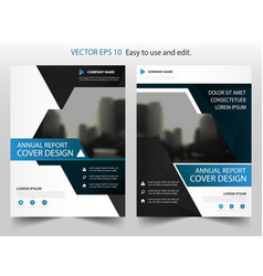 Blue triangle abstract annual report brochure vector
