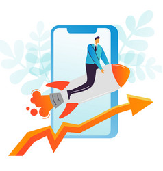 businessman flying on a rocket mobile startup vector image