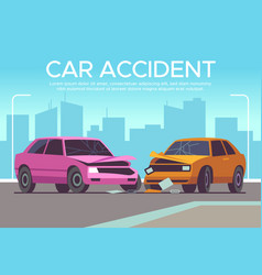 car accident traffic collision on crossroads vector image