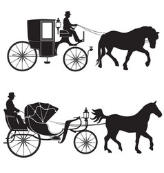 carriage with horse hansom-cab set vector image
