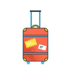 Cartoon large orange suitcase with handle vector