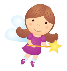 Cartoon little girl fairy vector