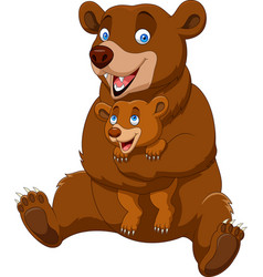 Cartoon mother and baby brown bear vector