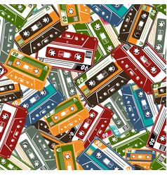 cassette tape seamless pattern vector image