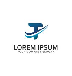 cative modern letter t logo design concept vector image