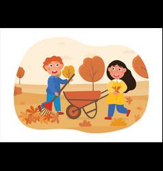 Children do housework concept vector
