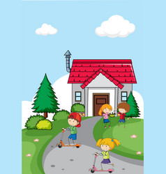 children in front of house vector image