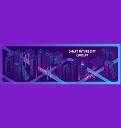 city future isometric banner with speed trains vector image