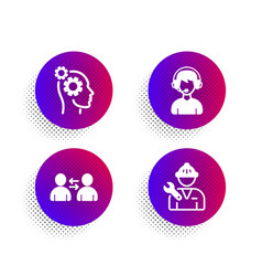 Communication consultant and thoughts icons set vector
