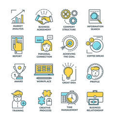 Coworking colored linear icons vector