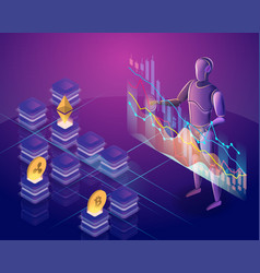 cryptocurrency trading bot vector image