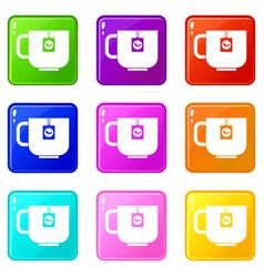 Cup of tea set 9 vector