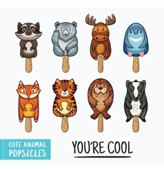 Cute animal popsicles ice vector image