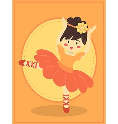Cute Orange Ballerina Girl vector image