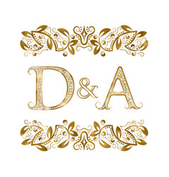 D and a vintage initials logo symbol letters vector
