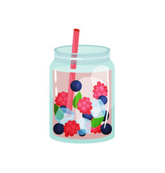 delicious detox water with raspberry blueberry vector image