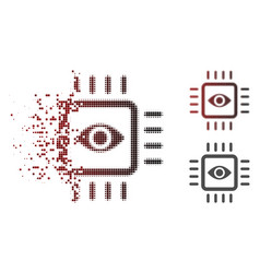 dispersed dot halftone bionic vision chip icon vector image