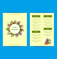 Doodle smoothie cafe or restaurant menu vector