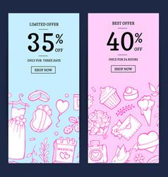 doodle wedding sale web banner vector image