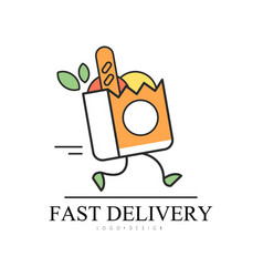 Fast delivery logo design food service delivery vector