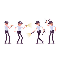 Female security guard at work vector