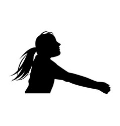Female volleyball player with a ball vector