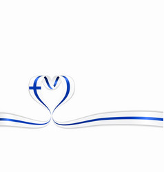 finnish flag heart-shaped ribbon vector image
