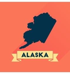 Flat icon with long shadow Alaska map vector