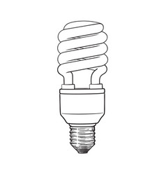 fluorescent energy saving spiral light bulb on vector image