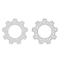 Gearwheel icon - triangular mesh vector