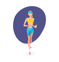 girl engaged in track jogging around city vector image