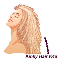 Girl with luxury long curly blonde hairstyle vector