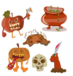 Halloween color funny set vector image