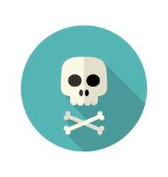 Halloween skull flat circle icon over blue vector