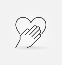 Hand with heart concept outline icon vector