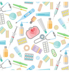 health care and medicine elements set in cartoon vector image
