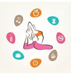 Healthcare and fitness infographics harmonic life vector
