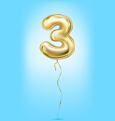 high quality image of gold balloon digit 3 three vector image