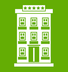 hotel building icon green vector image